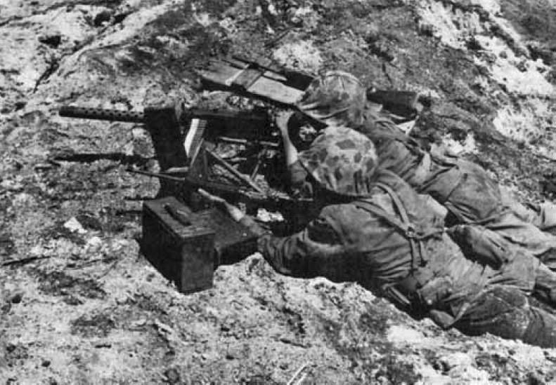 Browning M1919A4 Marine Namur Island - Des Marines couvrent l'infanterie lors de la Bataille des îles Namur