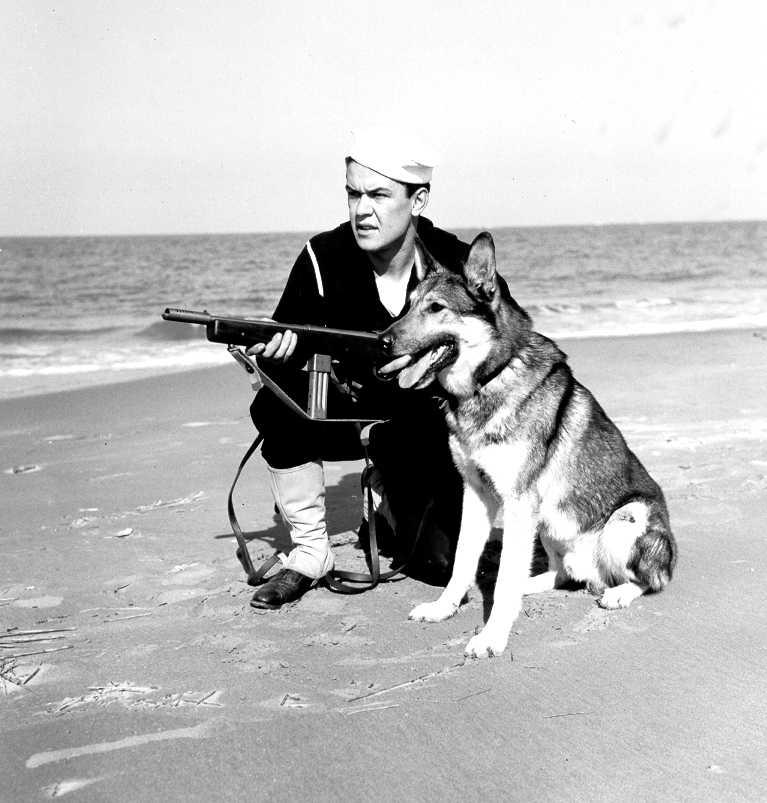 """USCG Beach Patrol - Un membre des Cost Guards avec sa Reising M50 pendant la seconde guerre"""" title=""""Un membre des Cost Guards avec sa Reising M50 pendant la seconde guerre"""