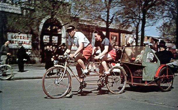 andre zucca Paris sous occupation 1940 1944 7 - Vélo-taxi en route vers Longchamp, en août 1943