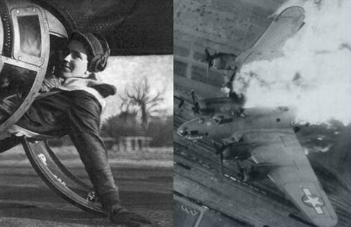 Alan Magee pose à moitié rentré dans la tourelle de son B-17