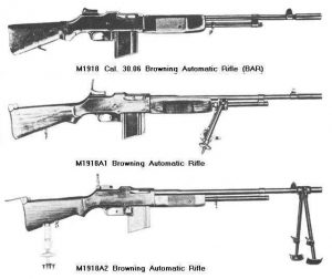 M1918 Variants 300x252 - Le Browning Automatic Rifle M1918 (B.A.R 1918)