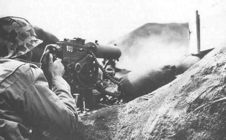 Browning M1917 Marine Iwo Jima - Des marines font feu à la M1917 pendant la bataille d'Iwo Jima