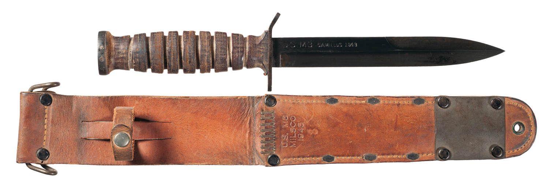 CEB278 K O1 O - Couteau USM3 de 1943 et son fourreau M6