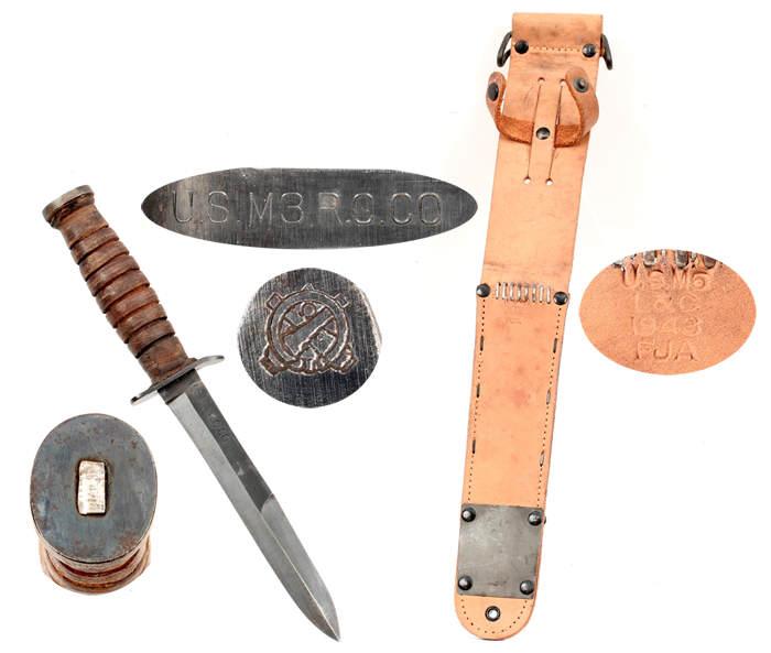 EWSK 1441 Product - Marquages sur le couteau USM3 et son fourreau M6