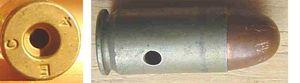 45 inerte M1921 300x83 - La cartouche de calibre 45 ACP