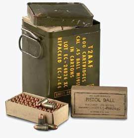 ammo 45acp - 600 cartouches, emballées par boîtes de 50, étaient rangées dans ce container.