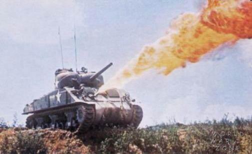 M4 shermanflame - Un sherman M4A2 Lance-Flammes à Iwo Jima