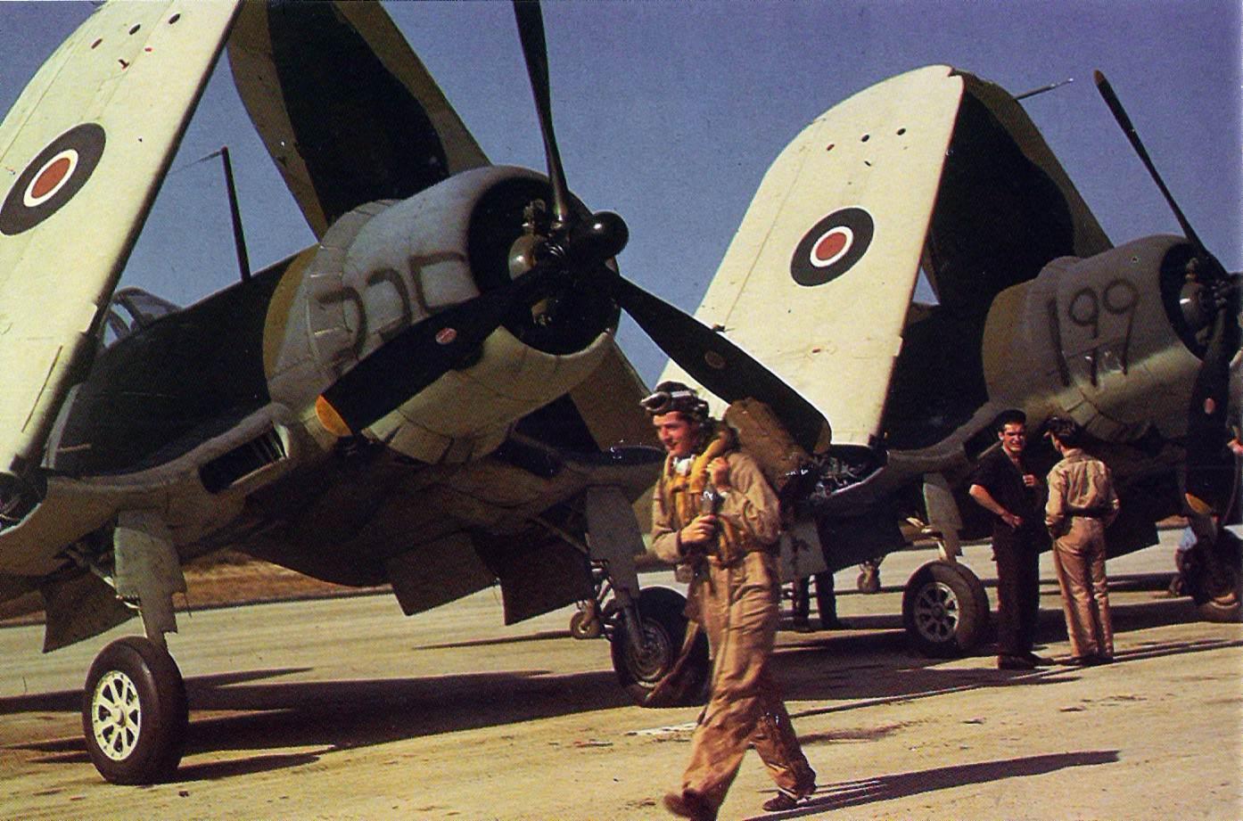 """Corsair Mk1 Quonset Point 1943 - Des Corsair avec leurs ailes repliées à """"NAS Quonset Point"""", en 1943."""